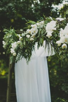 Green botanical floral swag. Wedding arbor, arch.