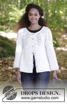 Drops Pattern 179-7, Knitted jacket with round yoke and lace pattern, worked top down in Baby Merino and Kid Silk