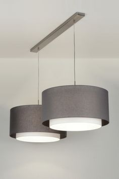 hanglamp 30420: modern, antraciet donkergrijs, stof, rond
