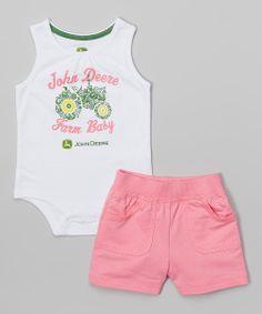 White 'Farm Baby' Bodysuit & Pink Shorts - Infant | zulily