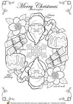 Coloriage / dessin Mandala de Noël Angleterre : Merry Christmas avec Santa Claus, rose de Noël, crackers et plum pudding