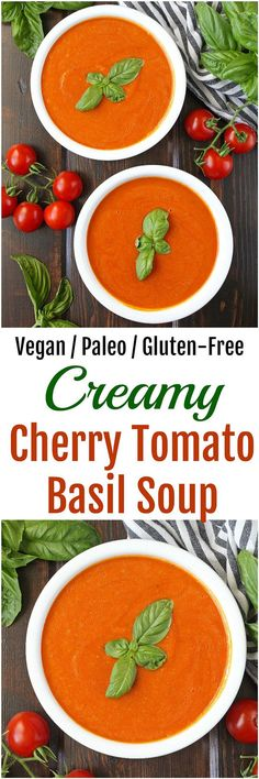 Creamy Cherry Tomato Basil Soup [Dairy-free / Vegan / Gluten-Free] - Skip the store-bought stuff and instead make this super easy Creamy Cherry Tomato Basil Soup! Dairy-free / Vegan / Gluten-Free