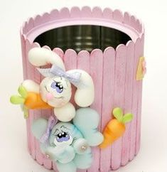 Popsicle Sticks and Tin Can Easter Tin Can Crafts, Jar Crafts, Easter Crafts, Diy And Crafts, Craft Projects, Crafts For Kids, Projects To Try, Arts And Crafts, Popsicle Stick Crafts
