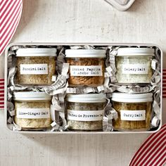 A beautifully packaged variety of flavored salts is a quick and simple gift any foodie will appreciate.