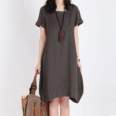 Brown Women Summer Dress Embroidery Plus Size Sundress Loose Vintage Clothing Irregular Hem Sundress Knee Skirt on Etsy, $49.99