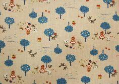 Red Riding Hood, cobalt blue, fat quarter, cotton linen blended fabric. $4.00, via Etsy.