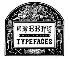 Enjoy these great old typefaces and illustration from my collection of rare books. Go make something scary for Halloween!
