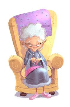 abstract background ballpoint chair children childish cute drawing handicraft grandmother happy hobby illustration isolated knitting old old-fashioned sewing sitting sofa sofa textile white wool Cartoon Grandma, Old Lady Cartoon, Cartoon Drawings, Cute Drawings, Sofa Drawing, Character Poses, Character Design Inspiration, Children's Book Illustration, Drawing For Kids