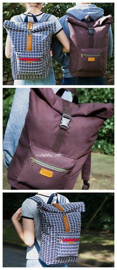 The Roxanne Rolltop Backpack is an awesome backpack that was created for men, women and children. It's a unisex bag that is specially designed for students and travellers. The pocket space is so big and organised that you can easily pack the bag with Diy Backpack, Laptop Backpack, Roll Top, Backpack Pattern, Backpack Sewing Patterns, Cool Backpacks, Pdf Sewing Patterns, Sewing Clothes, Unisex