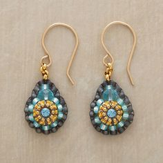 """VICTORIA EARRINGS--Exquisite craftsmanship evokes a bygone era in dainty earrings of blue quartz, Swarovski crystal and Japanese """"Miyuki"""" beads. Made in USA by Miguel Ases. 1-1/4""""L."""