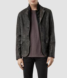 Mens Survey Leather Blazer (Anthracite) | ALLSAINTS.com
