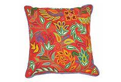 Karma Living Floral Crewel Pillow, Red on OneKingsLane.com
