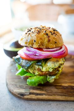 The best Turkey Burger Recipe with jalapeño, cilantro, lime zest, scallions , roasted poblano peppers and Chimichurri Mayo! Serve it in a bun or in a lettuce wrap! Best Turkey Burgers, Turkey Burger Recipes, Sandwich Recipes, Roasted Poblano Peppers, Stuffed Poblano Peppers, Summer Recipes, Healthy Dinner Recipes, Whole Food Recipes, Healthy Grilling