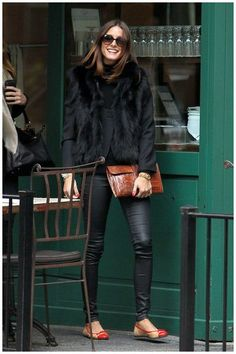 black fur and leather pouch