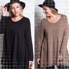 """💥HP 12/24💥LAYERED & FLARED TOP! THREE COLORS! Very cute layered & flared, long sleeve top. Rayon & polyester, sizes generously. Very comfy! Cozy but not too warm for indoors. BLACK, MOCHA, HUNTER GREEN.🚫ONLY TWO XLs in BLACK LEFT, XL in MOCHA, XL & 1X in GREEN AVAILABLE ♦️XL: bust 45""""♦️1X: bust 47""""♦️2X: bust 49"""" tla2 Tops"""