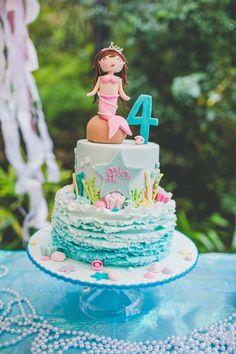 Mermaid themed 4th birthday party via Kara's Party Ideas KarasPartyIdeas.com Invitation, cake, printables, food, supplies, favors, and more! #mermaidparty #mermaid #undertheseaparty #underthesea (27)
