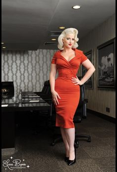 Pinup Couture Christina Dress in Rust Sateen
