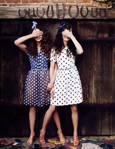 Polka dot dresses in a Clarks advertisement - Lucky Magazine, May 2012