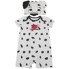 Disney Baby Boys' 101 Dalmations Romper with Hat Set. It's hassle free to change your little Dalmatian to this comfy outfit with the addition of bottom snaps.  100% cotton.