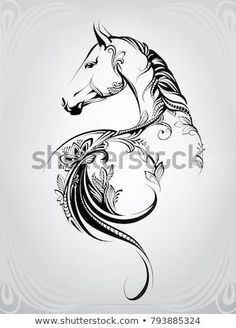 Portfolio von nutriaaa auf Shutterstock Horse in the ornament y arte corporal Horse Drawings, Animal Drawings, Art Drawings, Drawing Art, Drawing Ideas, Horse Tattoo Design, Tattoo Designs, Tattoo Ideas, Equine Art