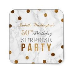 Gold Confetti & Marble Surprise Birthday Party Square Sticker
