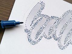 Anleitung für ein Punkte Lettering - Schritt 4: viele Punkte setzen