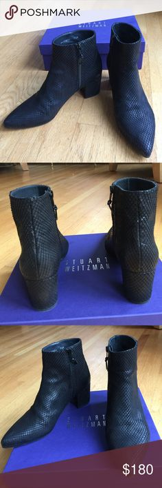 "Stuart Weitzman Zepher Leather Bootie Stuart Weitzman Zepher Leather Bootie, black wood snake, size: 7 1/2. Heel 2.25"", Side Zipper. Box included. EXCELLENT CONDITION Stuart Weitzman Shoes Ankle Boots & Booties"