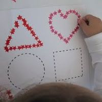 Have students place small stickers over the outline of large shapes.