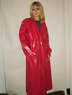 Red Raincoat, Vinyl Raincoat, Plastic Raincoat, Imper Pvc, Plastic Mac, Rain Suit, Rain Wear, Lady In Red, Leather Jacket