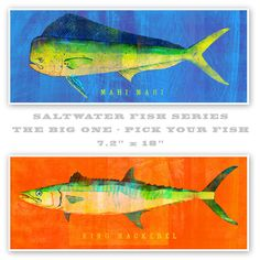 Saltwater Fish Art - The Big One Fish Print - Pick Your Fish 6.6 in x 18 in - The Golden Gallery