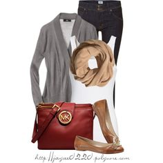 """Gray, Tan and Deep Red"" by jaycee0220 on Polyvore"