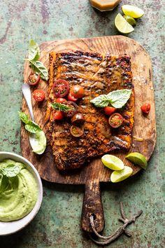 Honey Mustard Grilled Salmon with Avocado Basil Sauce | halfbakedharvest.com #grilling #salmon #summer #healthyrecipes