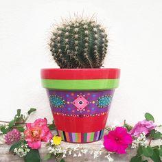 Painted Flower Pots, Painted Pots, Cactus Planters, Pots D'argile, Flower Pot Design, Pottery Painting, Bongs, Flowers, Ideas