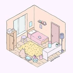 Sofia (@inkblotdemon) • Instagram photos and videos Cute Kawaii Drawings, Kawaii Art, Cartoon Drawings, Aesthetic Rooms, Aesthetic Art, Aesthetic Anime, Bedroom Drawing, House Drawing, Isometric Art