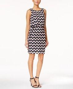 Sl Fashions Sleeveless Printed Sheath Dress - Black/Pink
