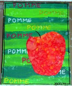 Bandes à la peinture (ou déchirage collage) puis pomme avec de la peinture au doigt.