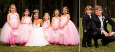 Bride with flower girls and Groom with ring bearer