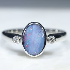 Australian Solid Boulder Opal and Diamond Silver Ring - Size 6.5 Code - RS44 Silver Opal Ring, 10k Gold Ring, Gold Diamond Rings, Opal Rings, Silver Rings, Natural Opal, Natural Diamonds, Red Opal, Silver Ring Designs
