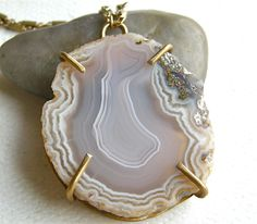 Agate Slab Pendant Necklace, Stone Pendant, Extra Long Gold Brass Necklace, Boho Rustic Necklace
