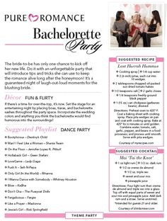 Pure Romance bachelorette party theme ideas! Check out my Facebook fan page for even more ideas :) https://www.facebook.com/pureromanceby.karen.7