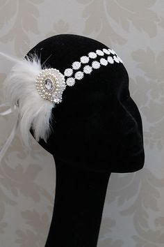 Flapper Headband Style Headband Feather Fascinator Fancy Dress Vintage new Great Gatsby Headpiece, Flapper Headpiece, Fascinator, Gatsby Headband, Flapper Style, 1920s Flapper, Gatsby Style, 1920s Style, Vintage Dresses