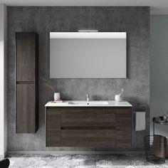 WS Bath Collections Ambra 47 Single Bathroom Vanity Set with Column and Mirror Base Finish: Samara Ash Bathroom Red, Single Sink Bathroom Vanity, Modern Bathroom, Master Bathroom, Bathroom Vanities, Bathroom Ideas, Glass Bathroom, Bathroom Cabinets, Bathroom Organization