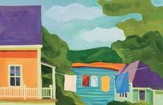 """LAUNDRY ON PEAKS ISLAND 11"""" x 17"""" print. Custom prints available. #peaks #island #maine #coast #cottage #painting #art"""