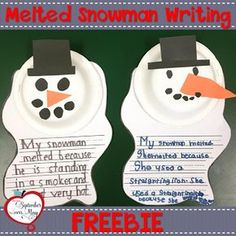 Winter Cause and Effect Writing with Sneezy the Snowman - so cute and easy for a winter bulletin board! Melted Snowman, Kinder Writing, Teaching Kindergarten Writing, Writing Lab, Teaching Ideas, Writing Skills, Teaching Resources, Snow Place, Winter Ideas