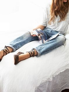 Tie Up Flats, Outfits Mujer, Vogue, Basic Outfits, Leather Ballet Flats, Mode Style, Aesthetic Clothes, Aesthetic Outfit, Look Fashion
