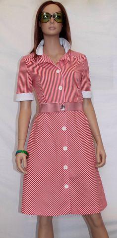 Vestido vintage 60's. Talla M (38- 40 aprox). Estampado rayas blancas y rojas. 100% poliester, con elastano. Cuello pico blanco y botones. de Torreillinoise en Etsy