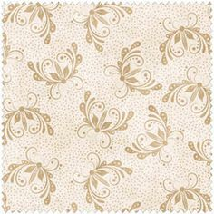 Tan Floral on Ivory Cotton Quilt Fabric by the Yard by fabric406