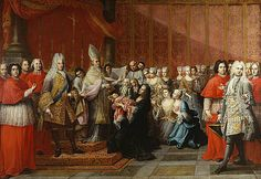 "The Baptism of Prince Charles Edward Stuart 1725 by Antonio David	 This monumental painting marks the baptism of Prince Charles Edward Stuart, Stuart heir to the thrones of Great Britain and Ireland. The newborn baby was described as ""large and well-made"" and his birth on 31 December 1720, caused great rejoicing.  National Portrait Gallery, Edinburgh"