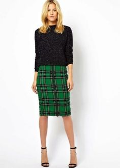 green tartan classic pencil skirt by ASOS with bead embellishment Fashion Mode, Office Fashion, Work Fashion, Womens Fashion, Plaid Pencil Skirt, Plaid Skirts, Pencil Skirts, Mode Outfits, Skirt Outfits