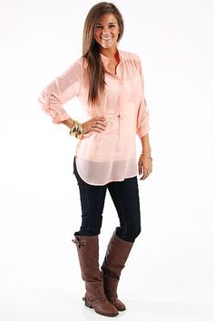 """Boyfriend Pocket Blouse, Peach $35.00 This sheer blouse is perfect to make your own! It features the option to button the sleeves up or let them down! Just put on the perfect layering tank or camisole with your favorite jewelry and jeans, then you're ready to go!   Fits true to size. Miranda is wearing a small.   From shoulder to hem:  Small- 28""""  Medium- 28.5""""  Large- 29"""""""